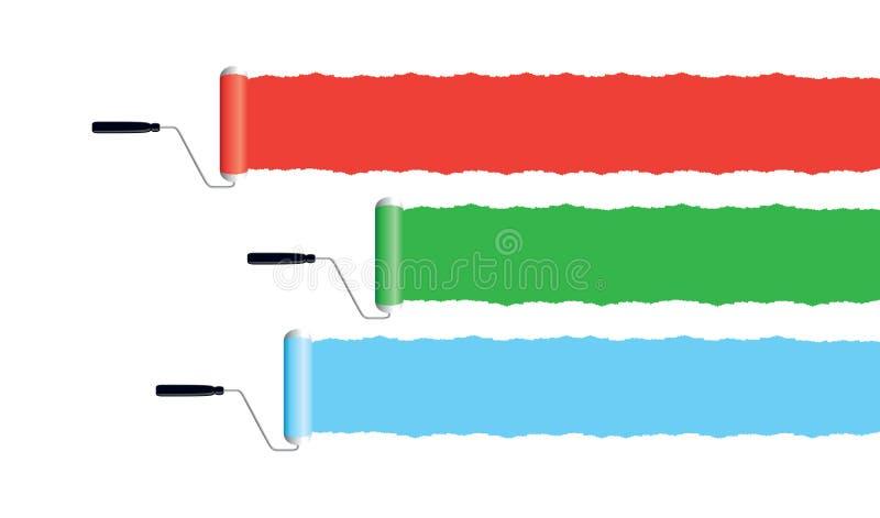 Banderas del rodillo de pintura stock de ilustración