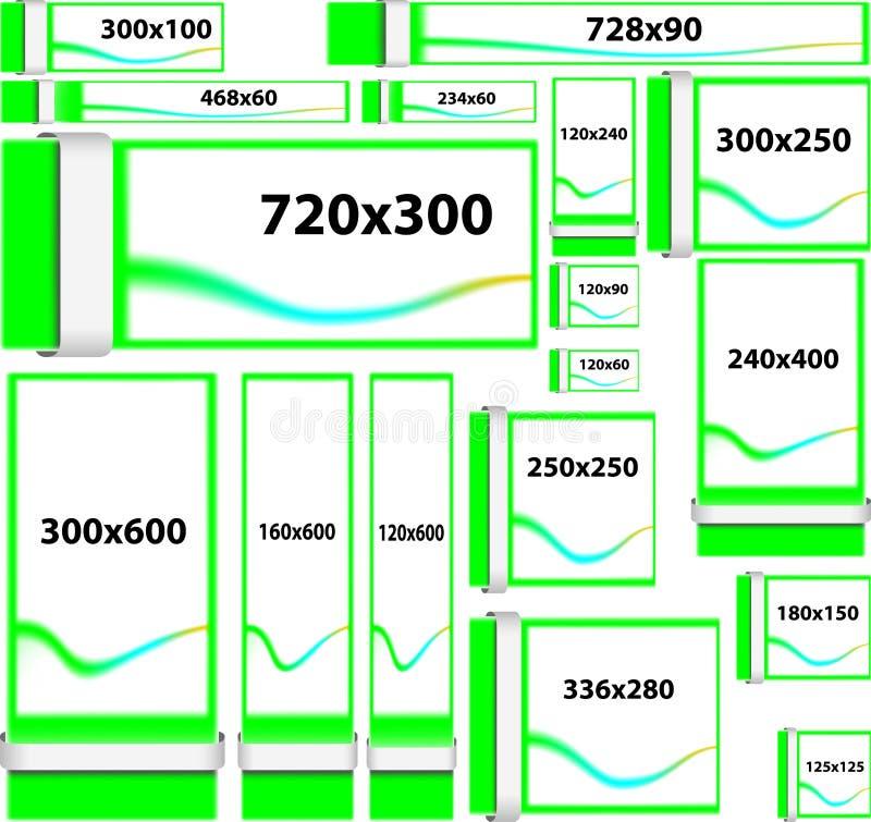 Banderas del sitio web del tamaño estándar stock de ilustración