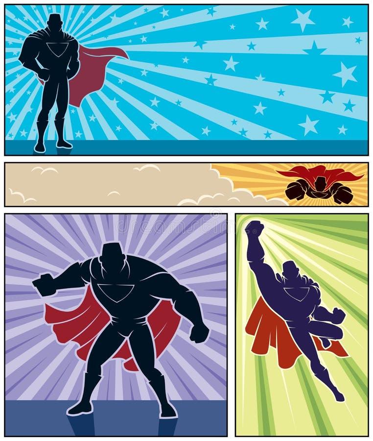 Banderas del super héroe stock de ilustración