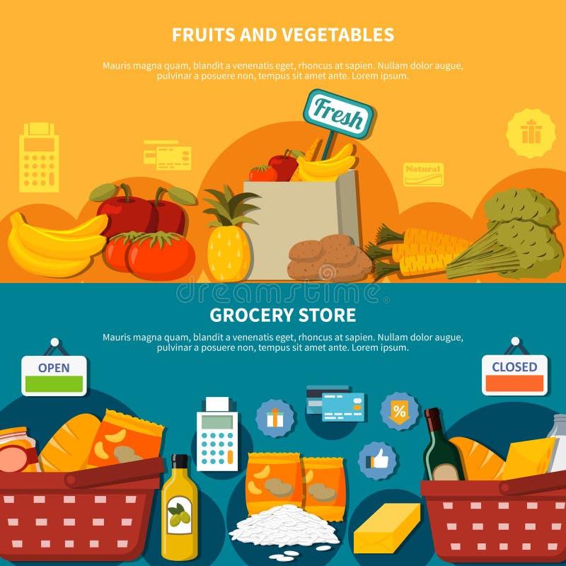 Banderas del supermercado del ultramarinos de las legumbres de frutas stock de ilustración