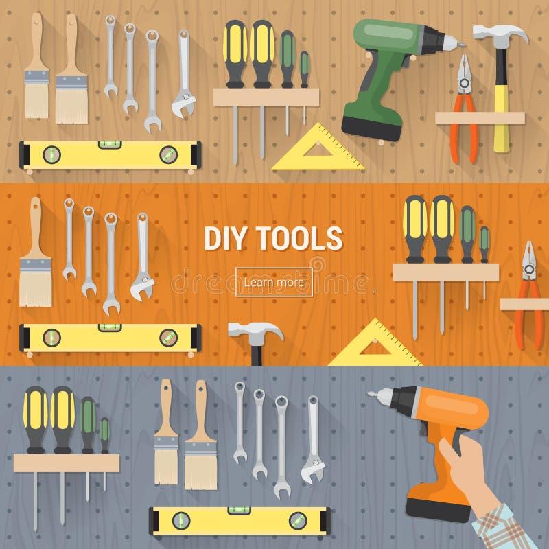 Banderas del toold de DIY fijadas stock de ilustración