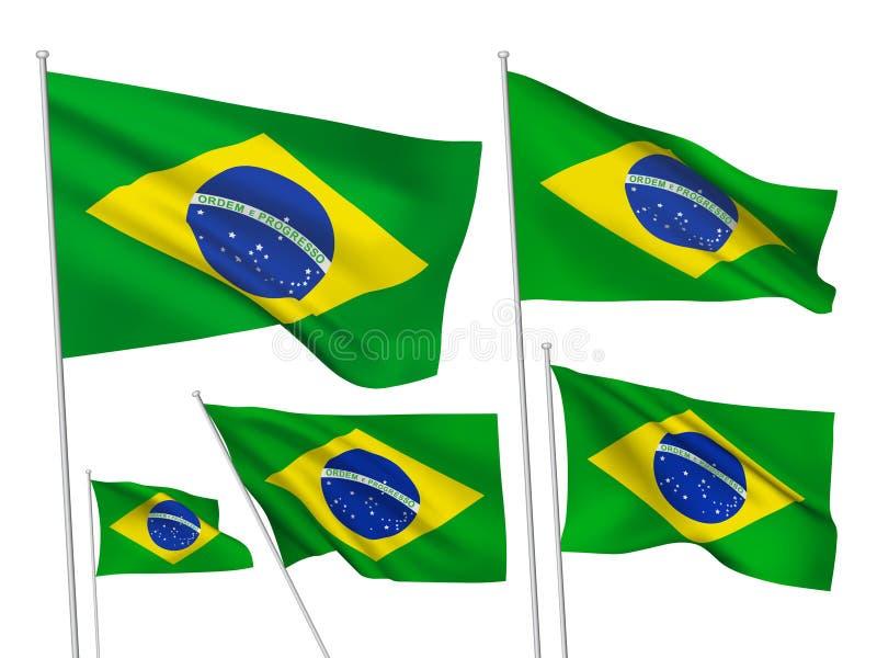 Banderas del vector del Brasil stock de ilustración