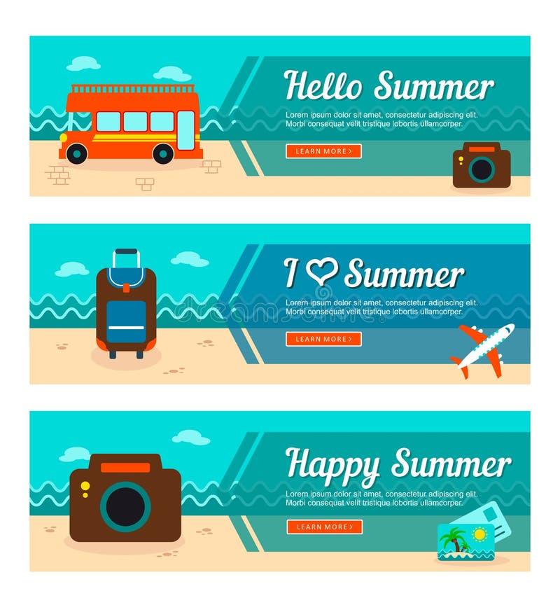 Banderas del vector del viaje y de las vacaciones ilustración del vector