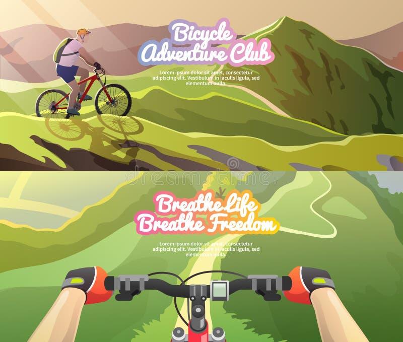 Banderas del vector El biking de la montaña stock de ilustración