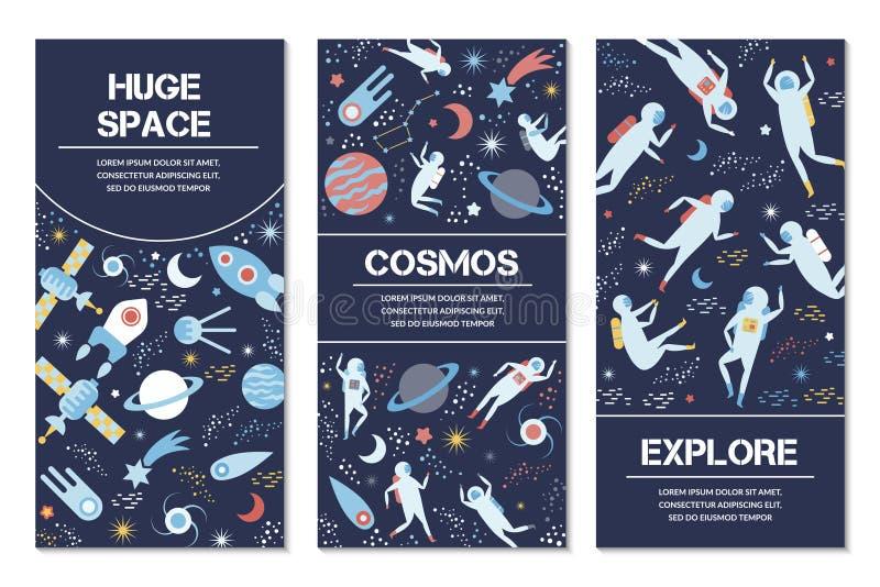 Banderas del vector en tema del espacio libre illustration
