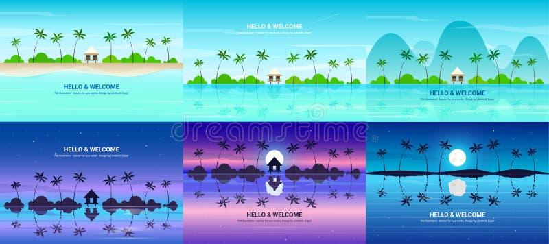 Banderas del vector fijadas con el centro turístico de verano imagen de archivo