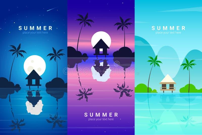 Banderas del vector fijadas con el centro turístico de verano fotografía de archivo libre de regalías