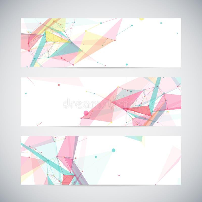 Banderas del vector fijadas con formas abstractas poligonales ilustración del vector