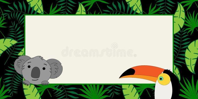 Banderas del vector Las hojas tropicales de moda con vector del tucán y de la koala diseñan stock de ilustración