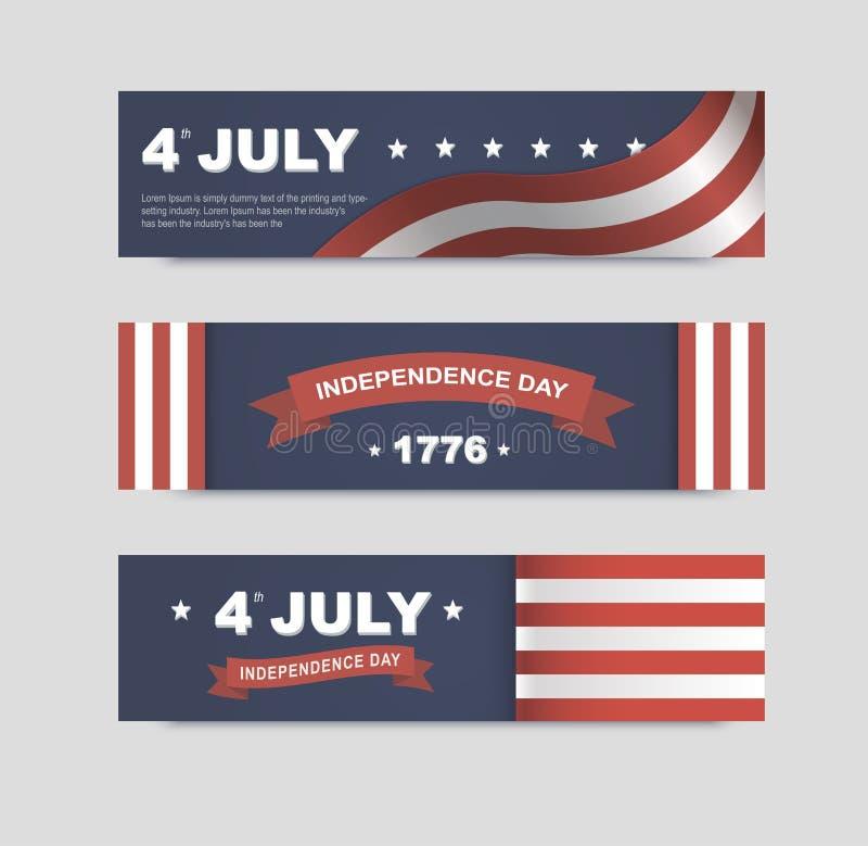 Banderas del vector para el Día de la Independencia de América stock de ilustración