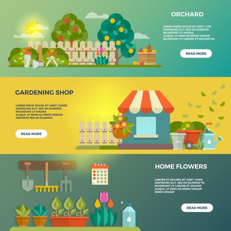 Banderas del vector que cultivan un huerto con los iconos de los utensilios de jardinería, de las semillas y de las plantas libre illustration