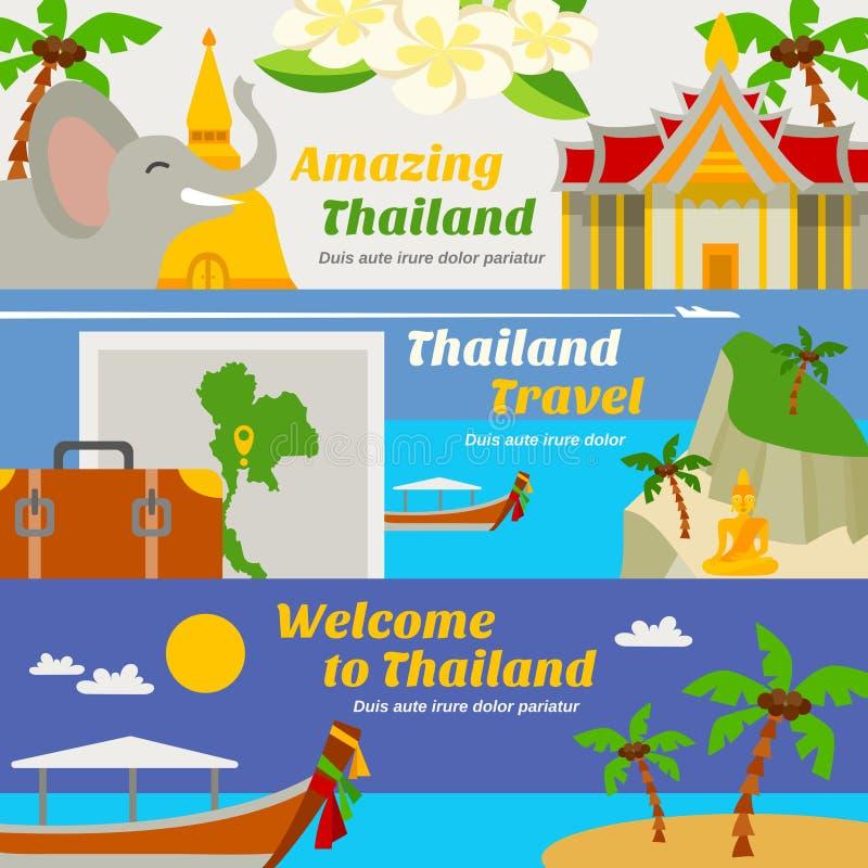 Banderas del viaje de Tailandia fijadas libre illustration