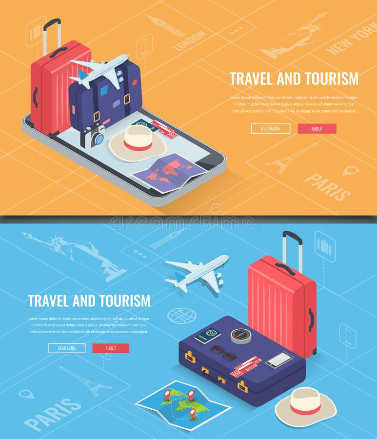 Banderas del viaje en estilo isométrico Viaje y turismo Plantilla del sitio web del concepto Vector libre illustration