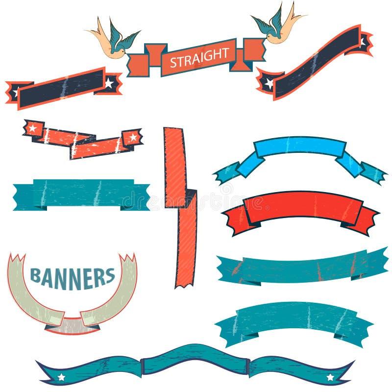 Banderas del vintage ilustración del vector