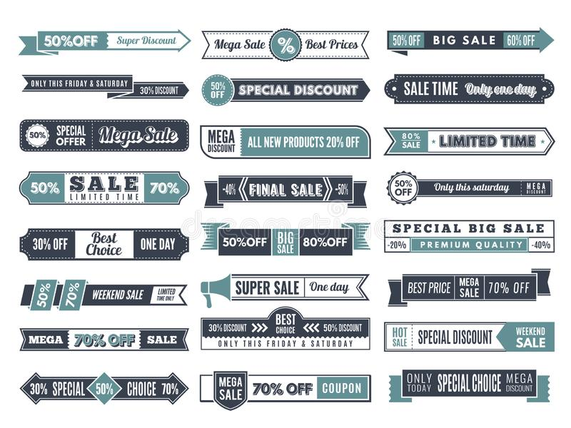 Banderas del vintage La cinta adorna los descuentos frontera de las ventas de las ofertas especiales y los ellements horizontales ilustración del vector
