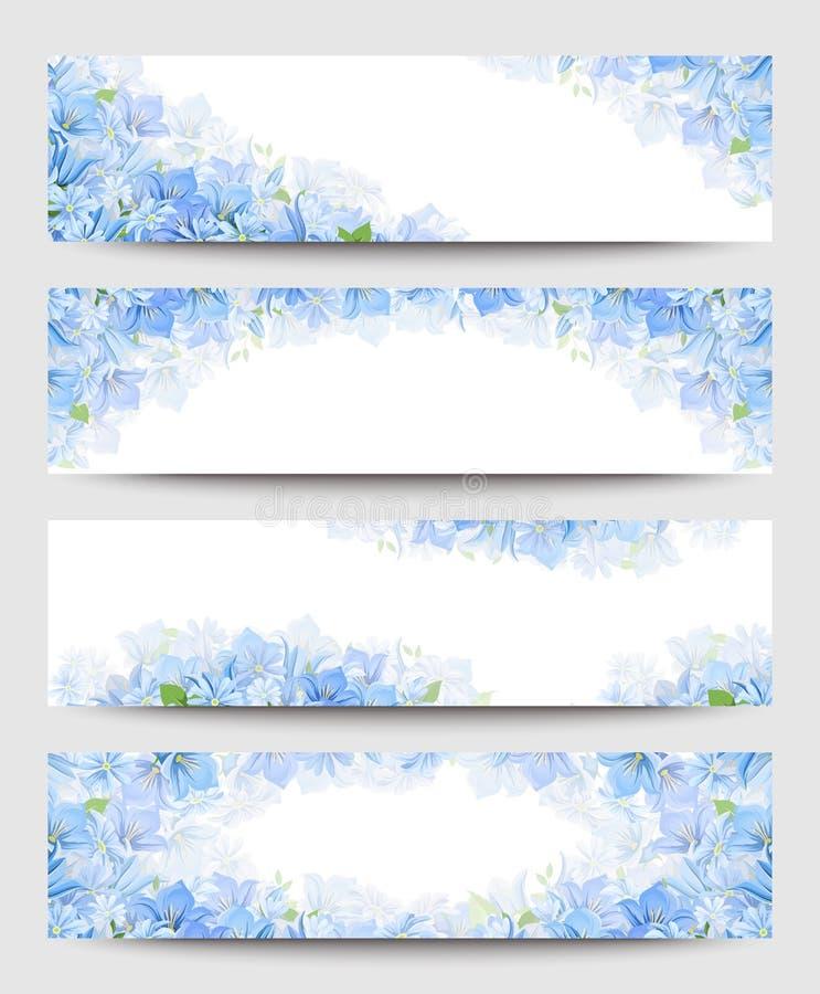 Banderas del web con las flores azules Vector EPS-10 ilustración del vector