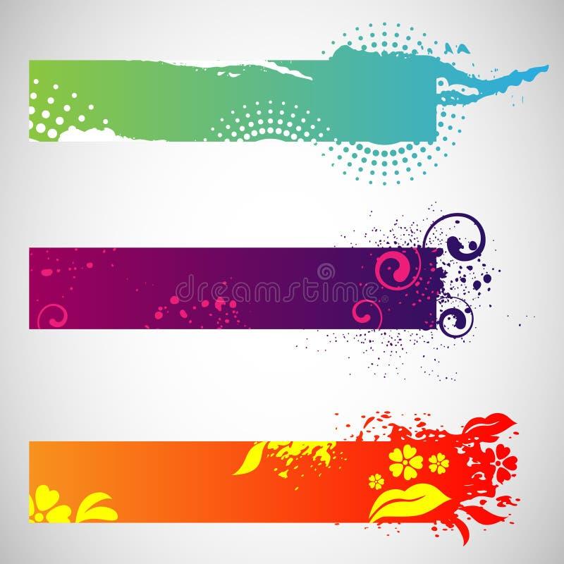 Banderas del Web de Grunge stock de ilustración
