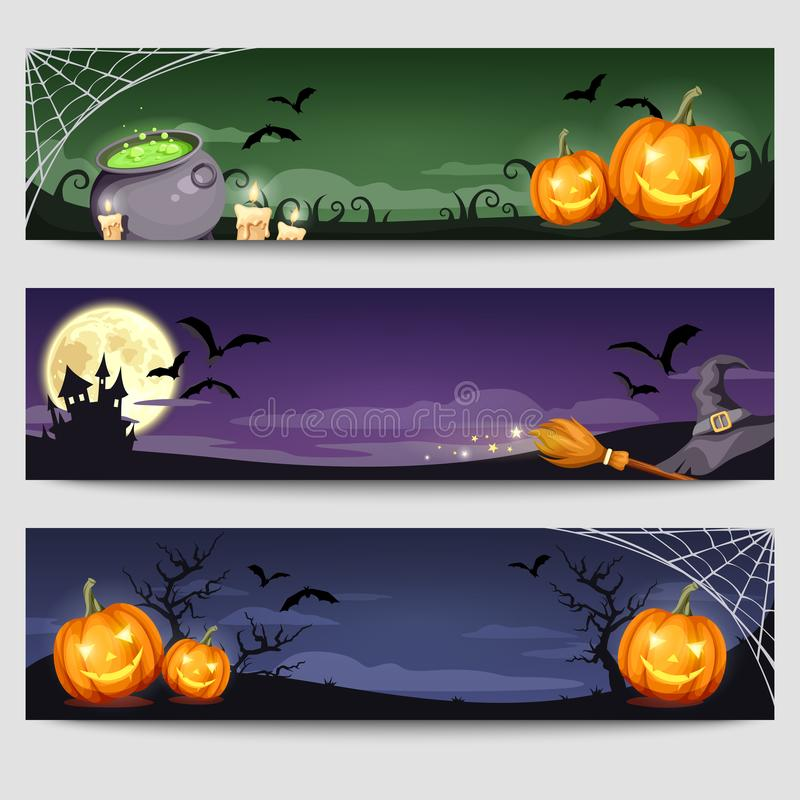 Banderas del web de Halloween Vector EPS-10 stock de ilustración