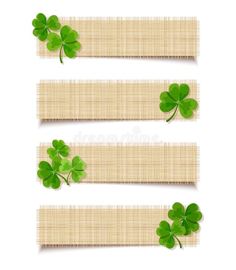 Banderas del web del día de St Patrick con el trébol Vector EPS-10 ilustración del vector
