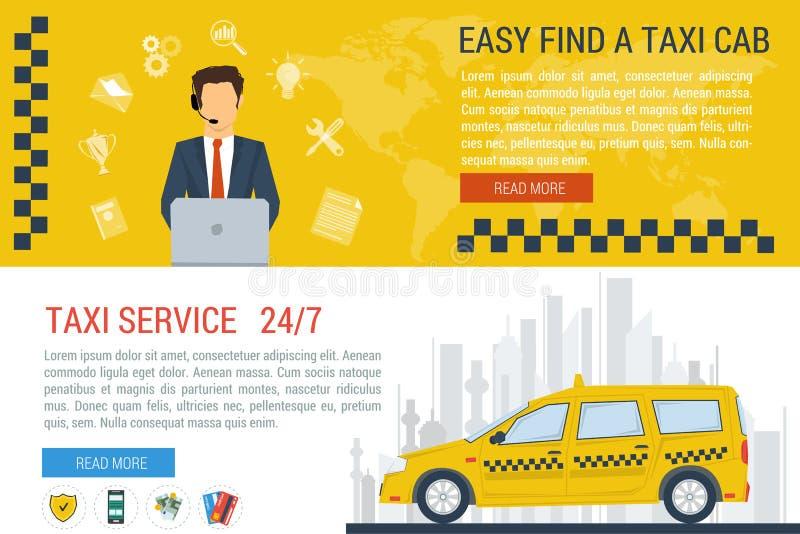 Banderas del web del vector del servicio del taxi libre illustration