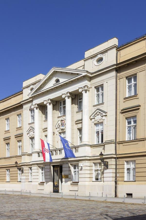 Banderas delante del parlamento croata Sabor 0198 imágenes de archivo libres de regalías