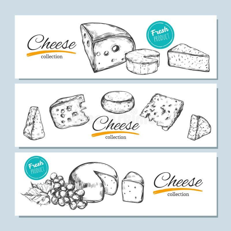 Banderas dibujadas mano del vector Colección del queso Ejemplo dibujado mano del vector de los tipos del queso ilustración del vector