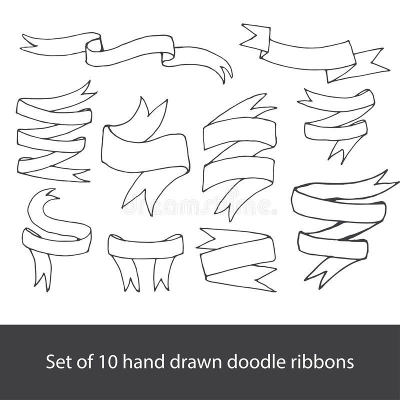 Banderas dibujadas mano fijadas libre illustration