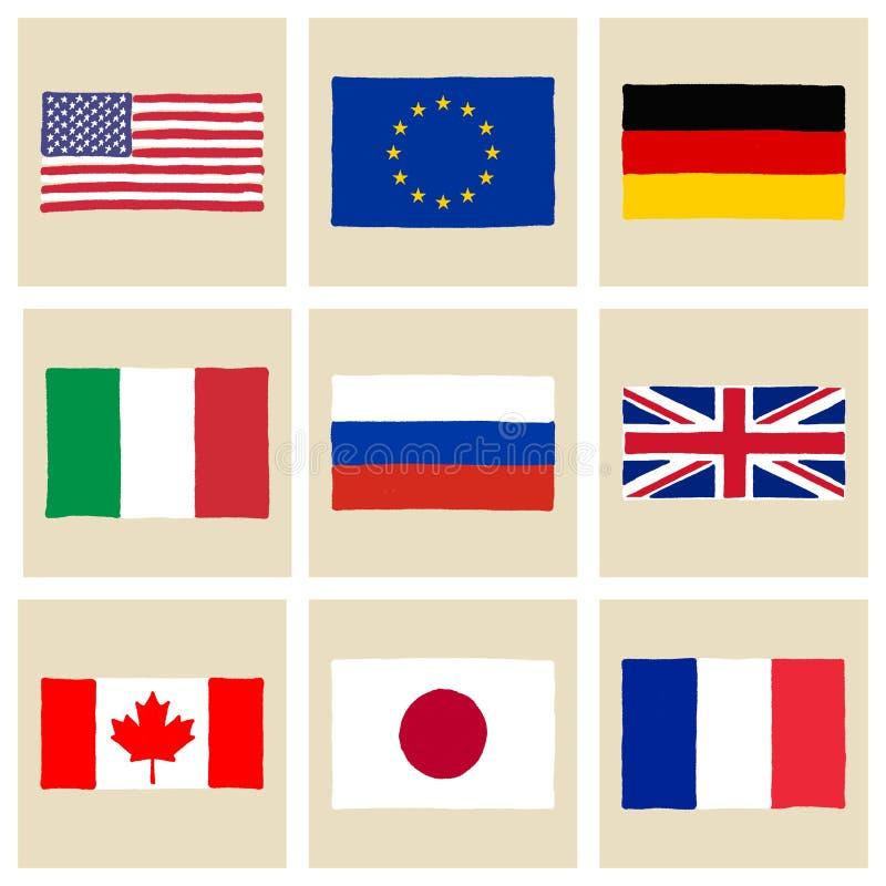 Banderas dibujadas mano G8 stock de ilustración