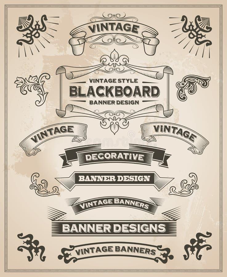 Banderas dibujadas mano retra del vintage libre illustration