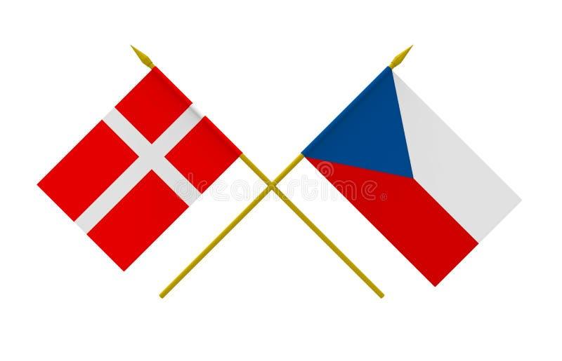 Banderas, Dinamarca y Checo stock de ilustración