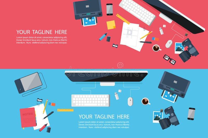 Banderas diseñadas planas para el proyecto creativo, desarrollo del diseño gráfico, agencia del diseño, negocio ilustración del vector