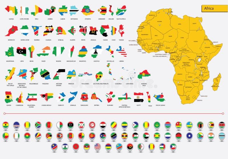Banderas e iconos africanos de las tarjetas imagen de archivo libre de regalías