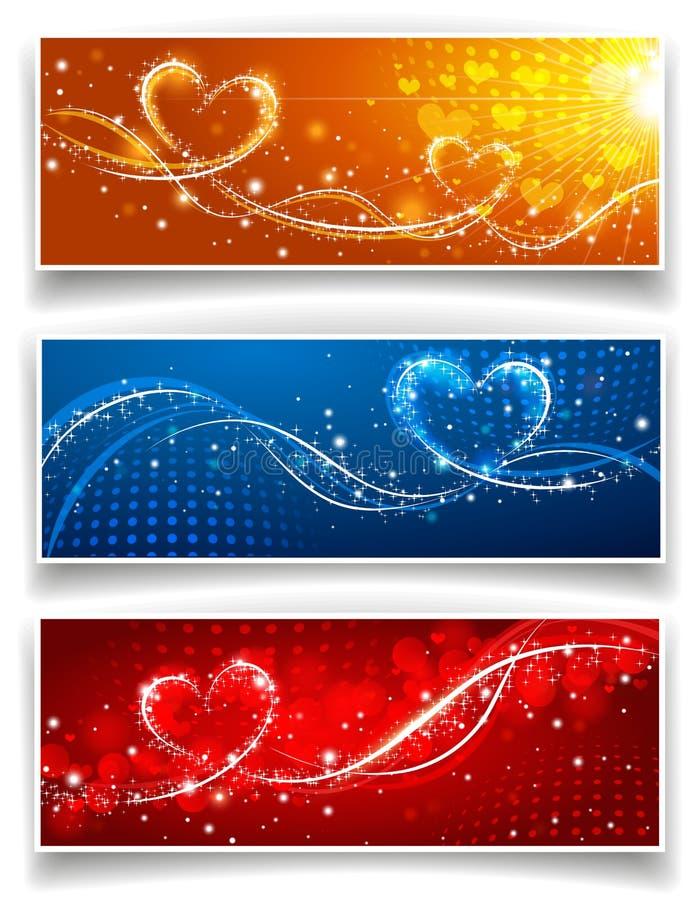 Banderas el día de la tarjeta del día de San Valentín s ilustración del vector