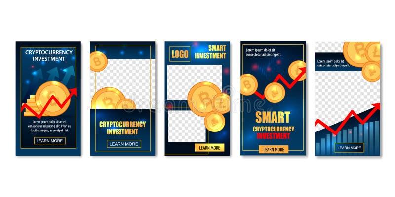 Banderas elegantes de las plantillas de la inversión de Cryptocurrency stock de ilustración