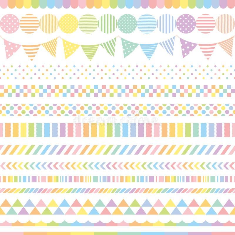 Banderas en colores pastel del arco iris stock de ilustración
