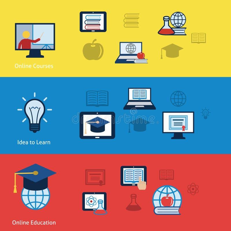 Banderas en línea de la educación ilustración del vector