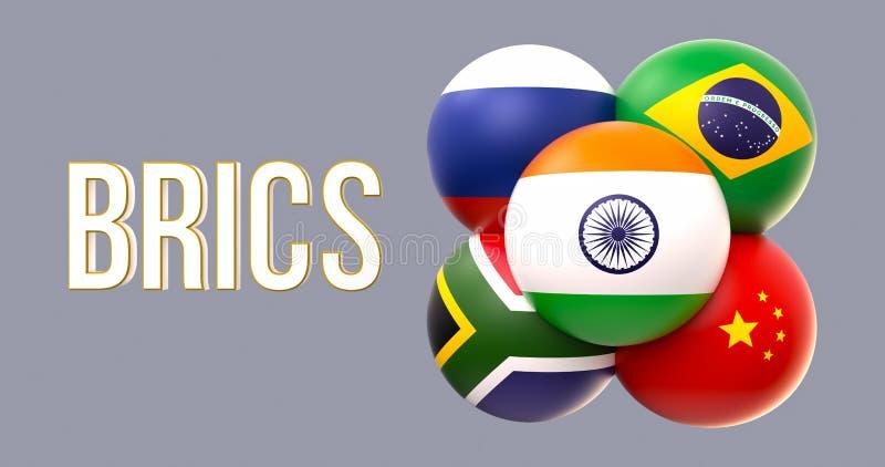 Banderas esféricas de BRICS, forma del racimo, el llevar de la India ilustración del vector