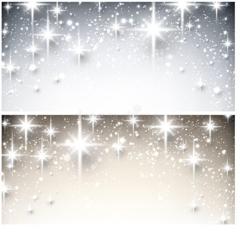 Banderas estrelladas de la Navidad del invierno ilustración del vector