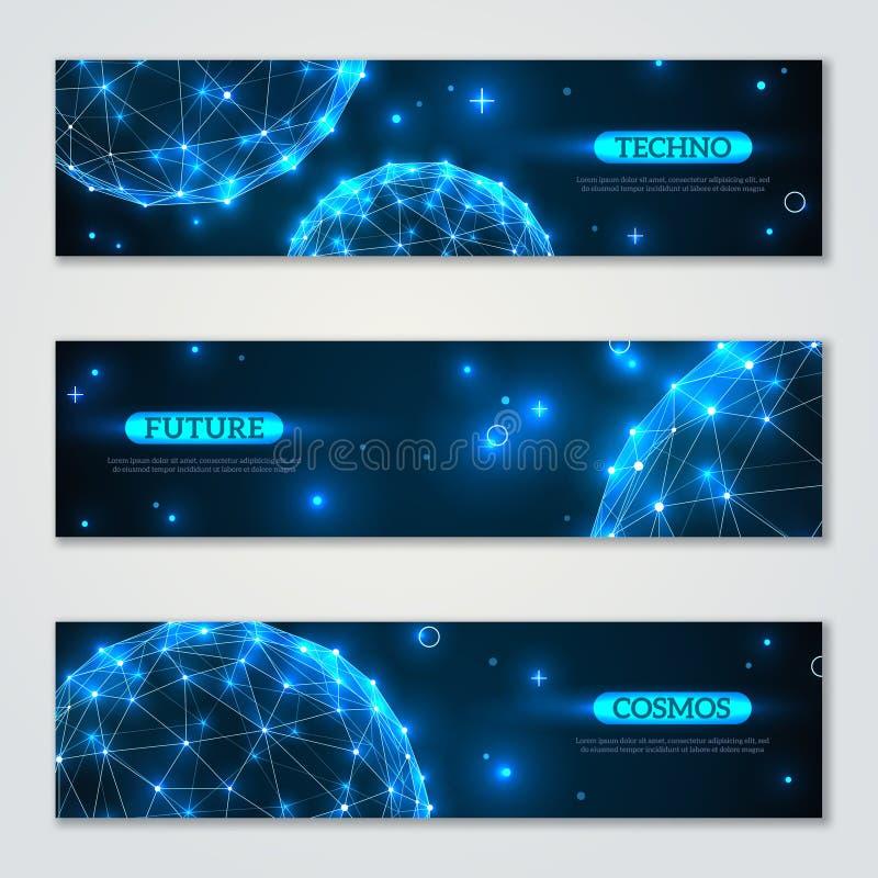 Banderas fijadas con los elementos poligonales del wireframe stock de ilustración