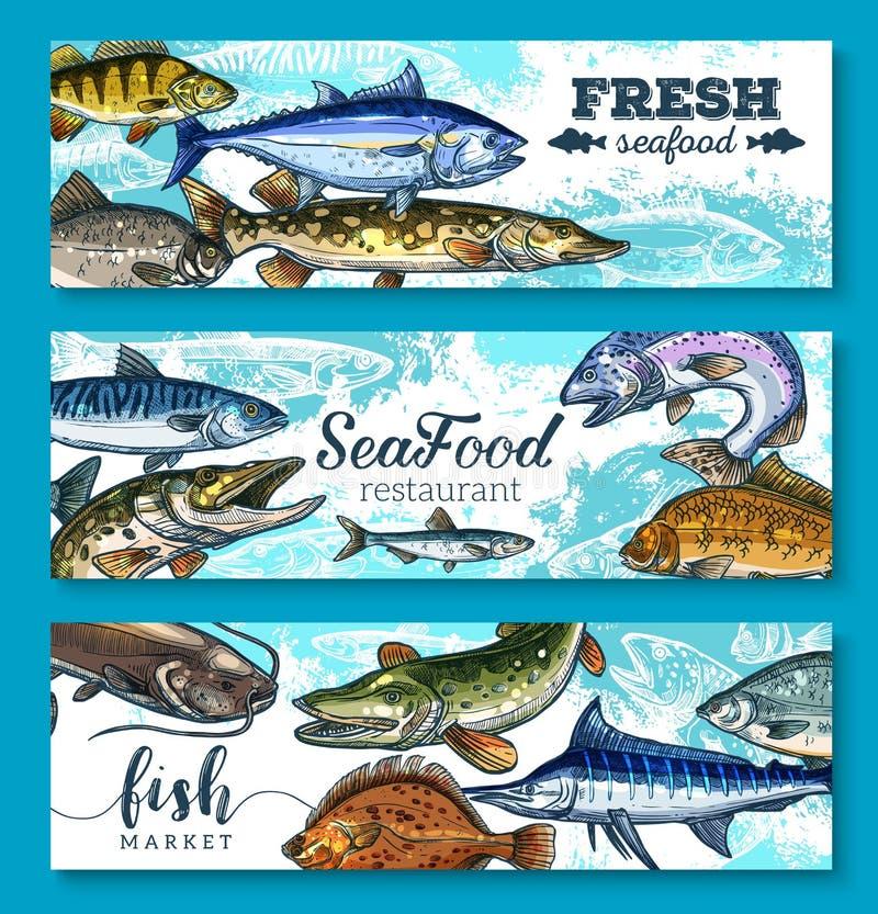 Banderas frescas de los mariscos y de los pescados del vector fijadas stock de ilustración