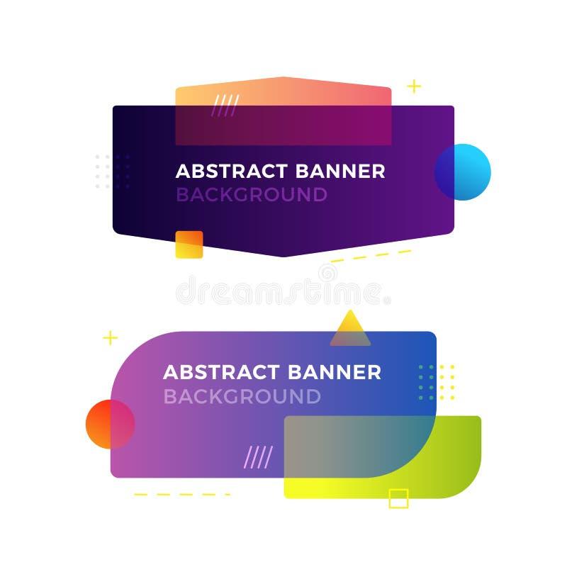 Banderas geométricas abstractas del vector en estilo moderno del diseño de Memphis Diversas formas con colores vivos de las pendi fotos de archivo libres de regalías