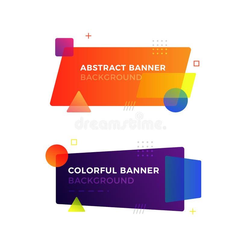 Banderas geométricas abstractas del vector en estilo moderno del diseño de Memphis Diversas formas con colores vivos de las pendi imagenes de archivo