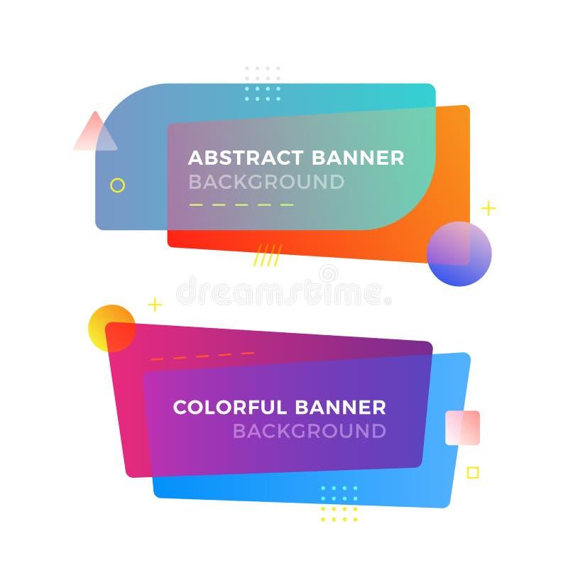 Banderas geométricas abstractas del vector en estilo moderno del diseño de Memphis Diversas formas con colores vivos de las pendi foto de archivo libre de regalías