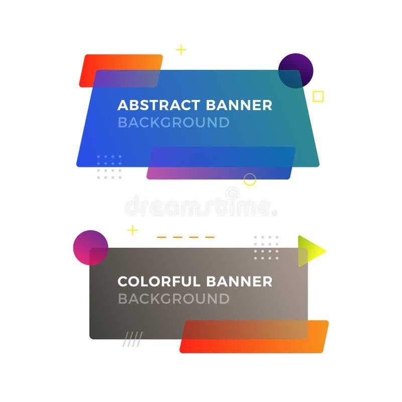 Banderas geométricas abstractas del vector en estilo moderno del diseño de Memphis Diversas formas con colores vivos de las pendi imagen de archivo