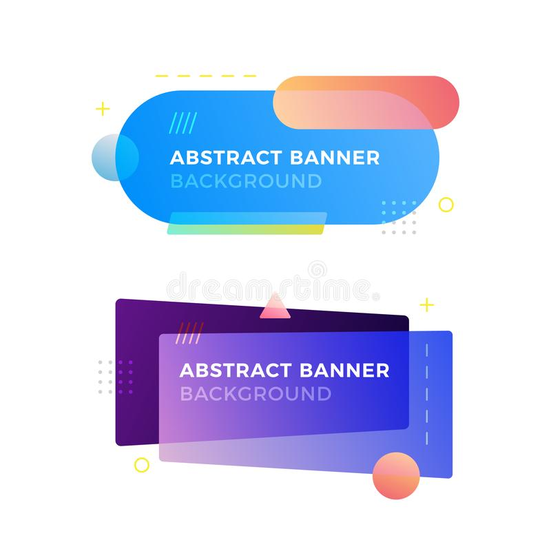 Banderas geométricas abstractas del vector en estilo moderno del diseño de Memphis Diversas formas con colores vivos de las pendi imágenes de archivo libres de regalías