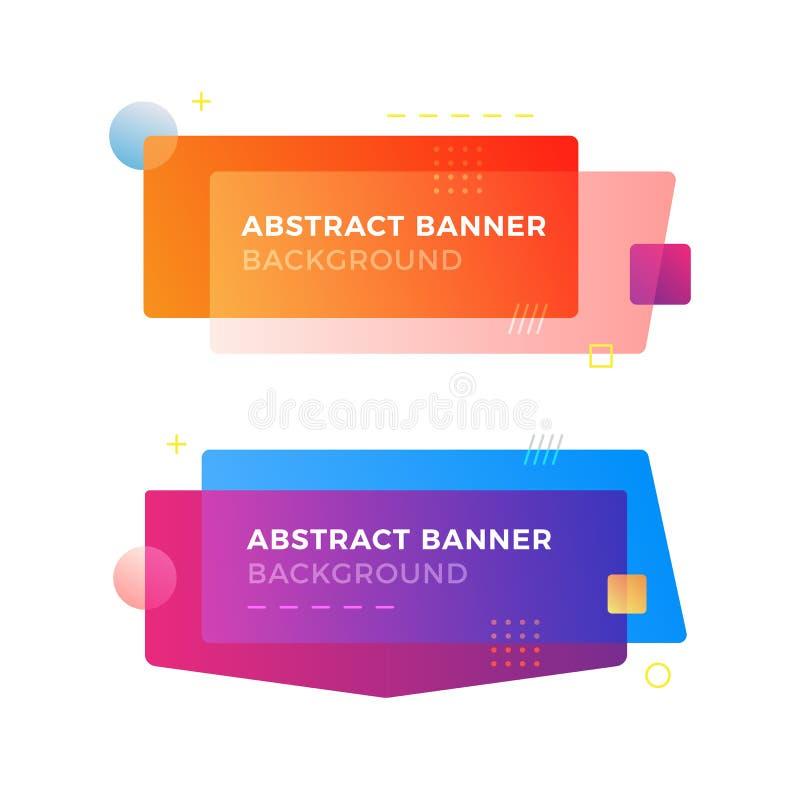 Banderas geométricas abstractas del vector en estilo moderno del diseño de Memphis Diversas formas con colores vivos de las pendi fotografía de archivo libre de regalías