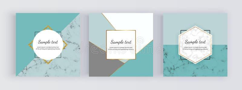 Banderas geométricas de la web de la venta con los triángulos de la menta, líneas de oro Diseño moderno de la moda de la promoció ilustración del vector