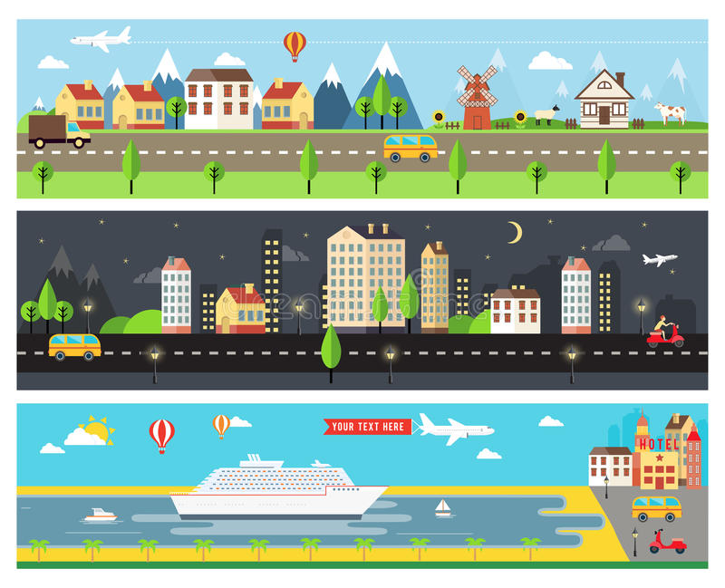Banderas hermosas del paisaje de la ciudad del vector stock de ilustración