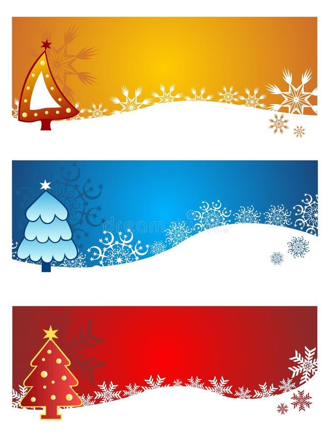 Banderas hermosas del vector de la Navidad fijadas stock de ilustración