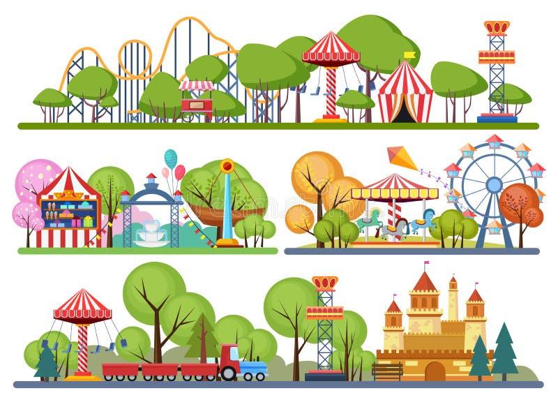 Banderas horisontal del parque de atracciones Illistration volumétrico del vector del color libre illustration